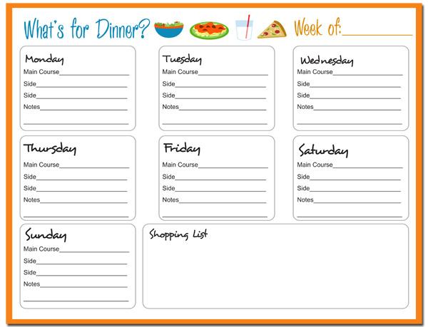weekly meal planner  free printable   7 moms