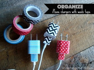 organize iPhone charges with washi tape