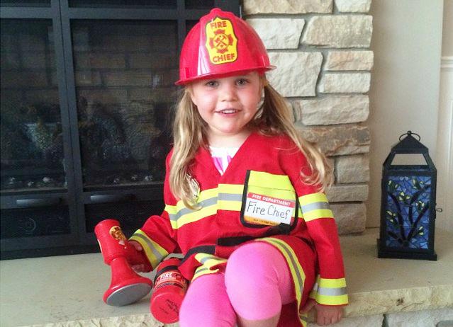 zoe in firefighter costume