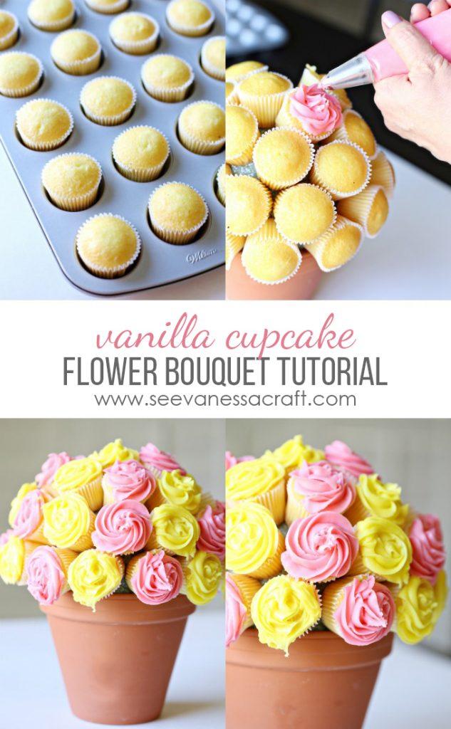 Mom Tip Vanilla Cupcake Flower Bouquet Tutorial 24 7 Moms